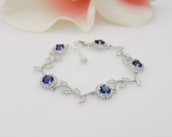 FREE US Ship Sapphire Cubic Zirconia Vine Bridal Bracelet CZ Wavy Vine Bracelet Sapphire Blue Bridesmaid Bracelet Bridesmaid Gift