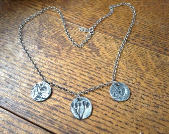 Fine silver Wildflower Charm Necklace