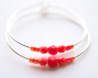 strawberry moon / coral red and silver hoop earrings
