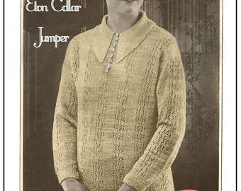 1920s Eton Collar Sweater Knitting Pattern – PDF Knitting Pattern - PDF Instant Download