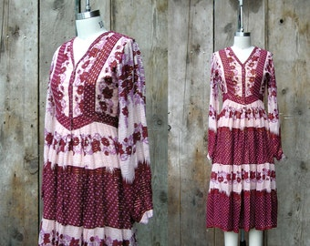 c. 1970s india cotton dress + vintage 70s bohemian print dress + vintage indian cotton gauze dress