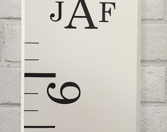 Monogram Growth Chart: Wood Home Decor | Boy Growth Chart | Measuring Stick | Oversized Ruler | Nursery Decor | First Birthday