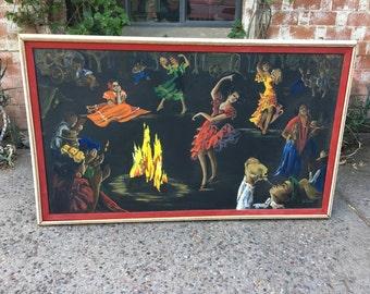 Fantastic Huge Vintage Retro Original Signed Oil Painting on Canvas of Gypsy Caravan Dance, Lady in Red