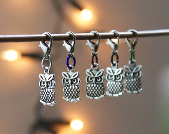 NIGHT OWL progress keepers or stitch markers - knitting, crochet, zipper pull, removable marker, knitting accessory, knitting tools, charm