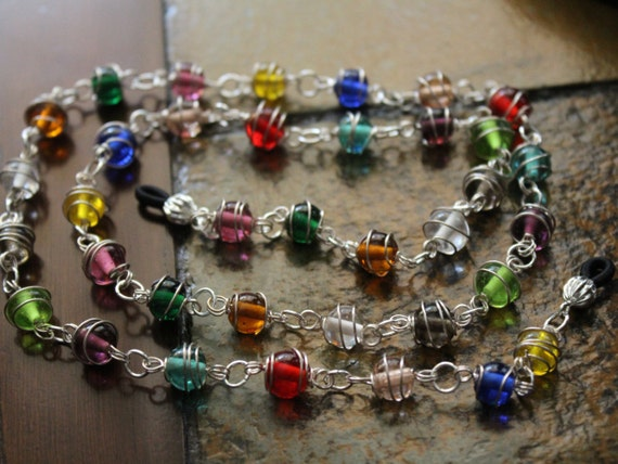 Wire Wrapped Necklace for Glasses, Eyeglass Chain, Multicolor Chain for Glasses, Eyeglass Accessory, Eyeglasses Jewelry