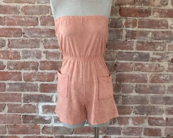Vintage 70s Terry Cloth Strapless Romper Playsuit Jumper Beach Cover-up