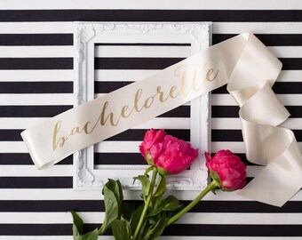 Bachelorette sash - Gold on Ivory