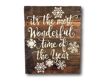 It's the Most Wonderful Time of the Year Wood Sign/ Christmas Decorations/ Rustic Christmas Decor