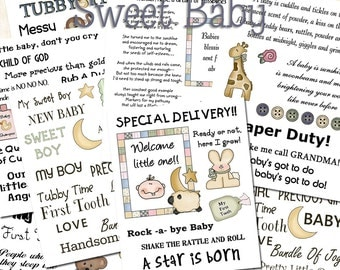 Sweet Baby Sentiments - Printable Pages for Baby Themed Projects.