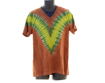 Tie Dye V-Neck Green and Brown T-Shirt