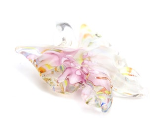 """Handmade Lampwork Butterfly Pendants in Pink and White 1.75""""x1.5"""" 1pc"""