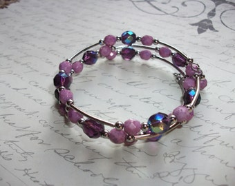 Purple and lilac memory wire bracelet