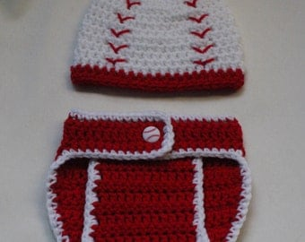 Crochet Baseball Hat and Diaper Cover PATTERN. Photo Prop. 0-3, 3-6, and 6-12 months. - PATTERN ONLY