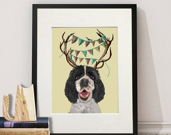 Black and white Springer Spaniel Antlers funny dog cute dog gift for dog lovers black Springer Spaniel poster Spaniel art anniversary gift