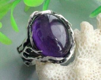 Amethyst ring  ,sterling silver, amethyst silver, vine ring, amethyst sterling, rod ring, solitaire ring, boho ring, branch ring, big ring