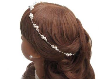 Pearl tiara bridal tiara wedding, Bridal hair wreath white wedding Crown pearls headband