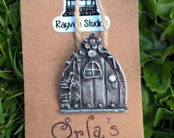 Orlas Door Pendant / Fairy Door / PMC3 / Fine Silver 999 / Precious Metal Clay / Organic / Woodland / Fantasy / Fairy / Faery / Pixie