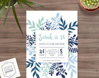 Printable Birthday Invitations, Sophisticated Leaf 30th birthday Invitation, Custom Invitations, Adult Party Invitations, Digital file, 5x7