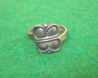 1950's Mid Century Aksel Holmsen Norway Modernist Butterfly Sterling Silver Ring - Free Shipping