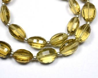 Vivid 10 Inch 7x10-9x12mm Natural Beer Quartz Step Cut Oval Nugget Beads Strand-19 Beads(0082-1187)
