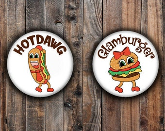Hotdawg and Glamburger BBQ boy and girl gender reveal pins
