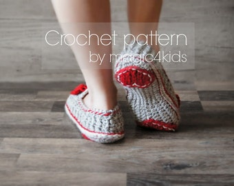 Crochet pattern- VALENTINE slippers,loafers,home shoes,for women,girls,adults,medium thickness yarn,feminine look