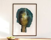 Giclee Print of Green Abstract Painting, Oversized Modern Wall Art, Large Original Fine Art, Feminist Art