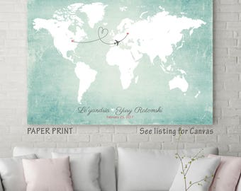 "Wedding Guest Book Alternative Map, United States Map, Custom Map, Long Distance Love Map, Wedding Gift Map, sizes 5"" x 7"" up to 30"" x 40"""