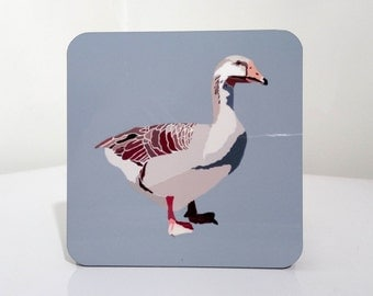 Blue coaster with graphic illustration of a Goose