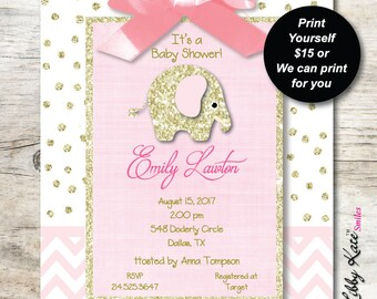 Elephant Baby Shower Invitation girl pink and gold glitter