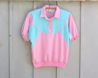 Classic 80s Polo Shirt - Pink and Green Colorblock Shirt - Vintage Slouchy Shirt - Geometric Shirt - 1980s Top - Short Sleeve Hipster Shirt