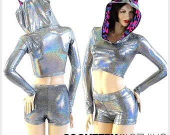 Silver Holographic Long Sleeve Crop Hoodie w/Pink and Black Aztec Cat Ears and Hood Liner & Mid Rise Shorts Set Rave Festival 153944