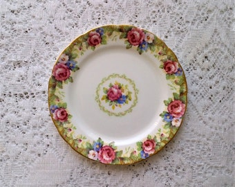 Paragon Tapestry Rose Fine Bone China Dessert Salad Side Plate - Made in England - 7 inch