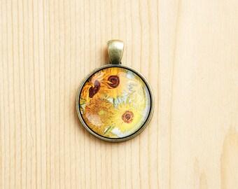 Vincent Van Gogh Sunflowers still life art painting pendant round