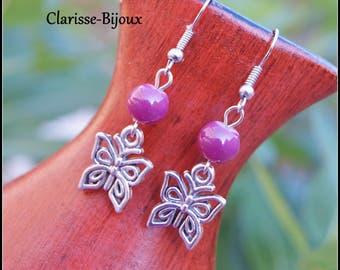 Purple Earrings, Silver Beaded Earrings, Butterfly Earrings