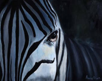 Zebra art Original oil painting Animal art African art Canvas art Black white painting African wall decor Black White decor Modern art