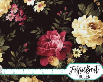 BLACK COTTAGE ROSE Fabric by the Yard, Fat Quarter Peony Fabric Black Floral Fabric 100% Cotton Fabric Quilting Fabric Yardage t1-39