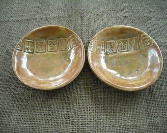 Mahjong Bowls - Burnt Orange Mahjong Bowls - Mahjongg Pottery - Mahjong Dishes - Small Mahjong Bowls