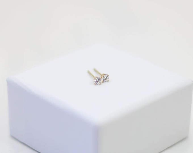 Diamond Cubic Zirconia Stud Earrings // 3mm Tiny CZ earrings in Gold filled and Sterling silver