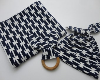 3 Piece Navy Geometric Baby Gift Set - Swaddling Blanket, Hat, and Teething Ring - Made to Order