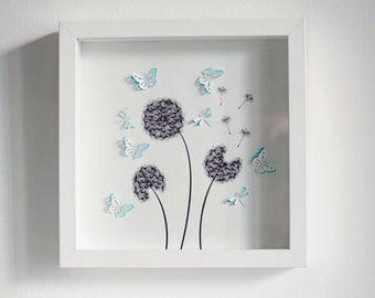 Beautiful handmade box frame picture of DANDELIONS with 3d butterflies and dragonflies