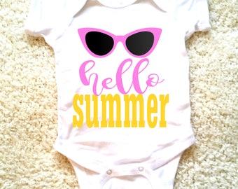 Hello summer quote baby onesie for newborn, 6 months, 12 months, and 18 months Funny graphic onesie