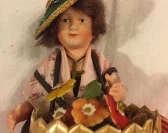 Antique celluloid French peddler doll