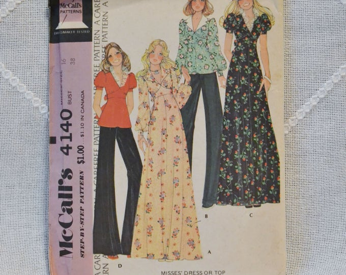 Vintage McCalls 4140 Sewing Pattern Crafts Misses Top  Dress Size 16 DIY Sewing Crafts PanchosPorch