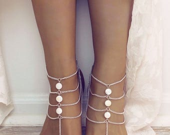 White Bohemian Barefoot Sandals Foot Jewelry white Anklet Bridesmaids Gift Beach Wedding Sandals Bare Foot Sandals Foot thong Beach Sandals