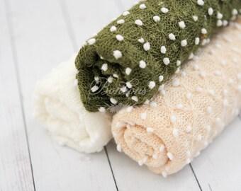 Baby Stretch Wraps RTS, Stretch Newborn Wraps, Stretch Knit Wraps, Baby Photo Props, Baby Girl Wraps, Boy Wrap Olive Cream Off White