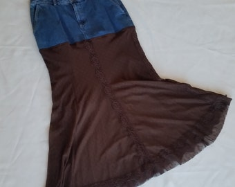 Refashioned Jean Skirt * Brown Lace * Boho Hippie Skirt * Upcycled Fashion * Long Brown Lace Skirt