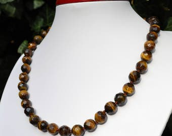 Necklace of Tiger eye faceted beads 10mm.