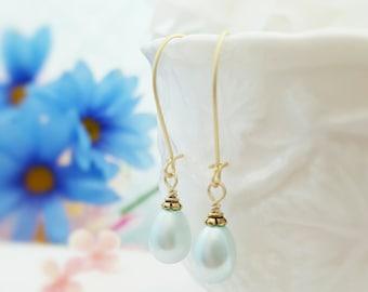 Powder Blue Pearl Earrings, Blue Teardrop Pearls, Blue Bridal Earring, Dainty Pearl, Light Blue Bridesmaid, Gold Earrings, Cinderella, E4211