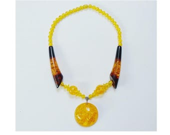 Faux Amber Chunky Necklace Over Sized Oversized Beads & Pendant Large Tubes Statement Vintage Costume Jewellery Flamboyant